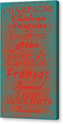 French Wines - 5 Champagne And Bordeaux Region Canvas Print