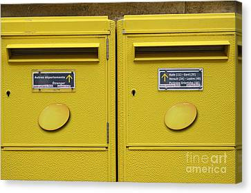 French Yellow Mailboxes Canvas Print by Sami Sarkis