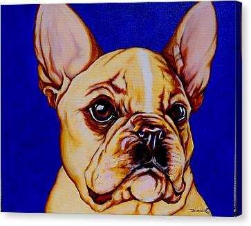 Boston Terrier Animals Acrylic Dog Portraits Pet Portraits Animal Portraits Canvas Print - Frenchie by Lina Tricocci