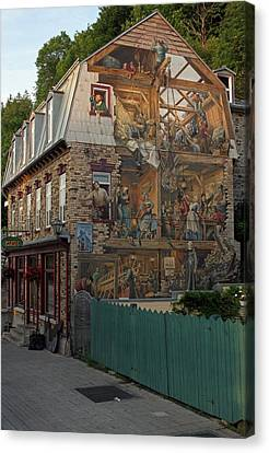 Fresco Wall Art Painting In Quebec City Canvas Print by Juergen Roth