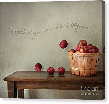 Fresh Apples On Wooden Table Canvas Print by Sandra Cunningham