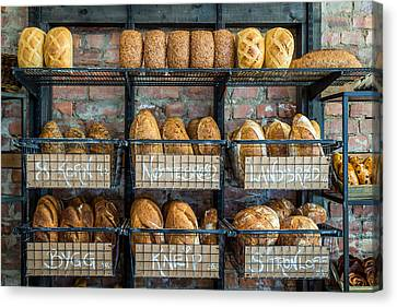 Fresh Baked Bread At Small Town Bakery  Canvas Print by Aldona Pivoriene