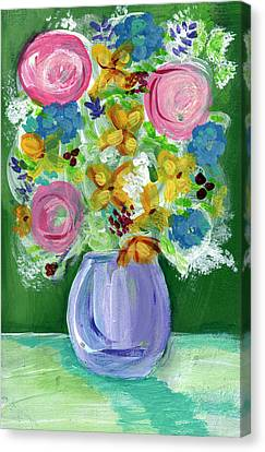 Fresh Flowers- Painting Canvas Print by Linda Woods