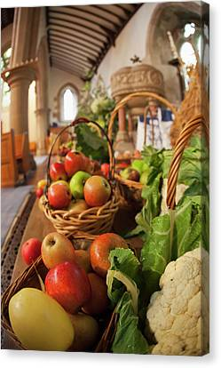 Fresh Food On Display On A Table Canvas Print by John Short
