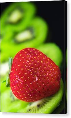 Fresh Fruits Kiwi And Strawberries Canvas Print by Modern Art Prints