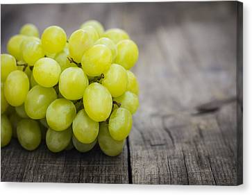 Fresh Green Grapes Canvas Print by Aged Pixel