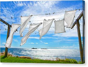 Fresh Laundry Canvas Print by Donna Doherty