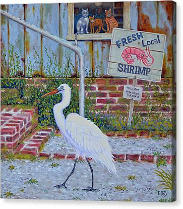 Canvas Print featuring the painting Fresh Local Shrimp  by Dwain Ray