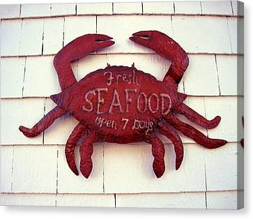 Fresh Seafood Sign Boothbay Harbor Canvas Print by Patricia E Sundik