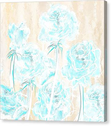 Fresh Summer- Cream And Aqua Art Canvas Print by Lourry Legarde