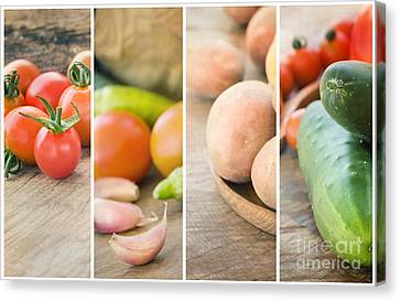 Fresh Vegetables Collage Canvas Print by Mythja  Photography
