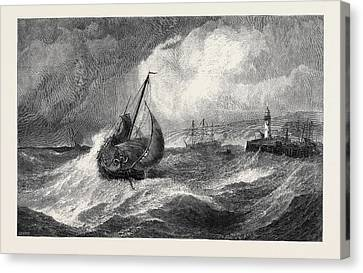Stormy Weather Canvas Print - Freshening Gale Scarborough Fishing Boats Returning by Hayes, Edwin, Rha, Ri, Roi (1819-1904), British