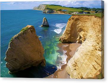 Canvas Print featuring the digital art Freshwater Bay by Ron Harpham