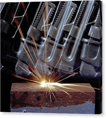 Frictional Thermite Reaction Canvas Print by Crown Copyright/health & Safety Laboratory Science Photo Library