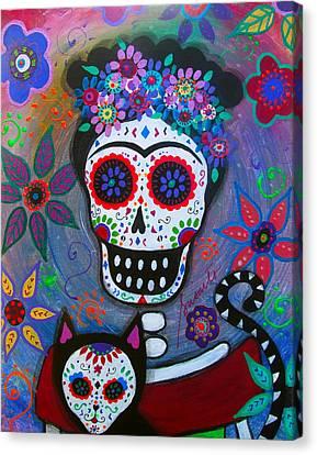 Frida And Her Kitty Canvas Print by Pristine Cartera Turkus