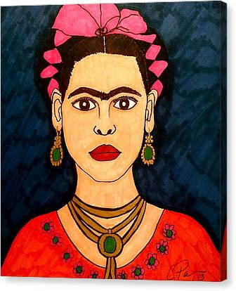 Canvas Print featuring the drawing Frida by Chrissy  Pena