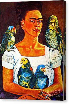 Frida In Tlaquepaque Canvas Print by Mexicolors Art Photography