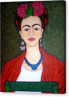 Frida Kahko Portrait With Dahlias Canvas Print