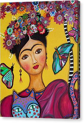 Canvas Print featuring the painting Frida Kahlo And Her Cat by Pristine Cartera Turkus