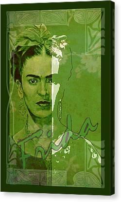 Frida Kahlo - Between Worlds - Green Canvas Print by Richard Tito