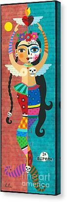 Flame Canvas Print - Frida Kahlo Mermaid Angel With Flaming Heart by LuLu Mypinkturtle