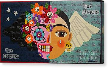 Frida Kahlo Sugar Skull Angel Canvas Print by LuLu Mypinkturtle