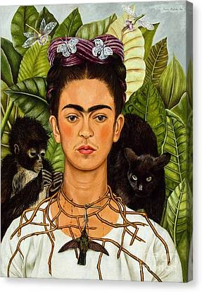 Frida Kahlo - Thorn Necklace And Hummingbird Canvas Print by Roberto Prusso