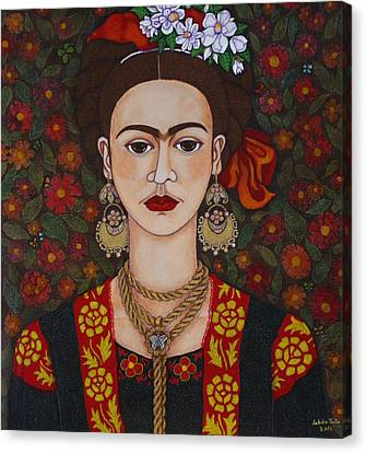 Frida Kahlo With Butterflies Canvas Print