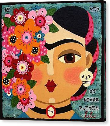 Naive Canvas Print - Frida Kahlo With Flowers And Skull by LuLu Mypinkturtle