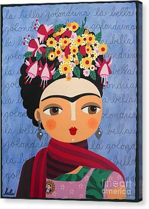 Frida Kahlo With Fuschias And Lantanas Canvas Print by LuLu Mypinkturtle