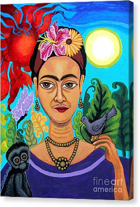 Frida Kahlo With Monkey And Bird Canvas Print by Genevieve Esson