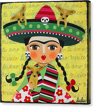 Chihuahua Canvas Print - Frida Kahlo With Sombrero And Chihuahuas by LuLu Mypinkturtle