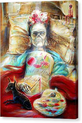 Frida Viva La Vida Canvas Print by Heather Calderon