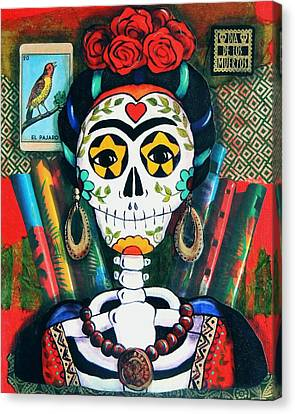 Folkloric Canvas Print - Frida With Flutes by Candy Mayer