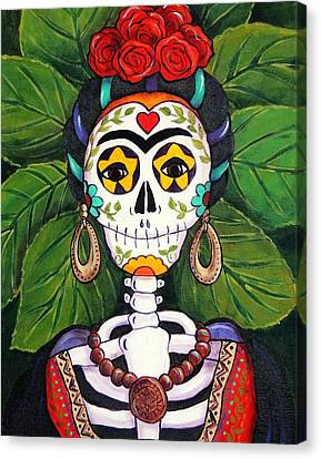 Folkloric Canvas Print - Frida With Roses by Candy Mayer