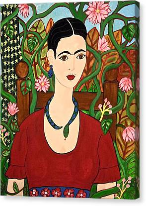 Frida With Vines Canvas Print