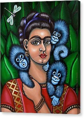 Fridas Triplets Canvas Print by Victoria De Almeida