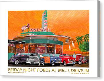 Mels Diner On Friday Night Canvas Print by Jack Pumphrey