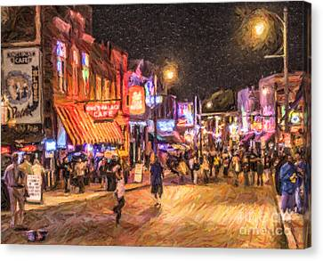 Friday Night On Beale Canvas Print