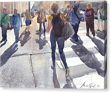 Crosswalk Canvas Print - Friday Rush by Max Good