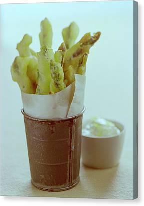 Asparagus Canvas Print - Fried Asparagus by Romulo Yanes