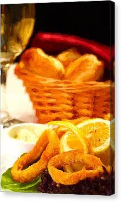 Fried Calamars Canvas Print by Roberto Giobbi