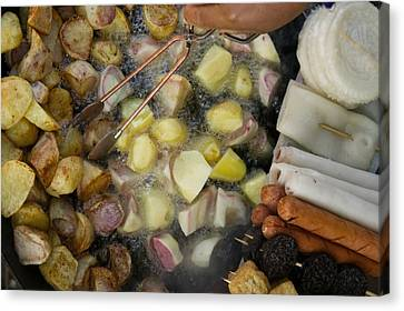 Fried Potatoes And Snacks On The Grill Canvas Print by Panoramic Images