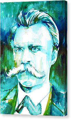 Friedrich Nietzsche Watercolor Portrait.1 Canvas Print by Fabrizio Cassetta