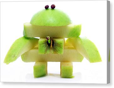 Friendly Apple Monster Made From One Apple Canvas Print by Simon Bratt Photography LRPS