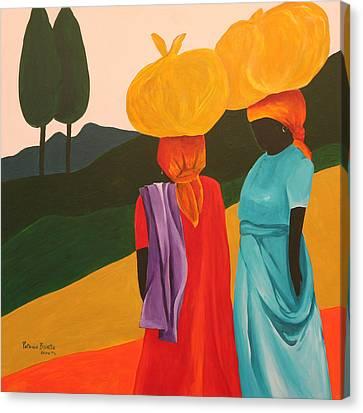 Conversing Canvas Print - Friendly Encounter by Patricia Brintle