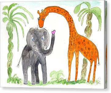 Canvas Print featuring the painting Friends - Elephoot And Elliot by Helen Holden-Gladsky