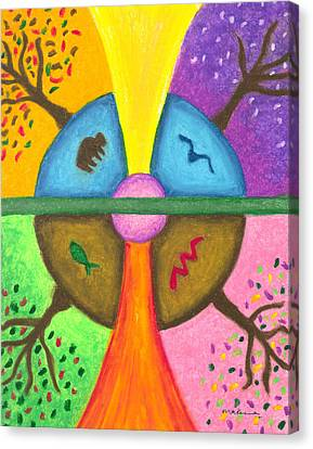 Friends In The Earth Mandala Canvas Print