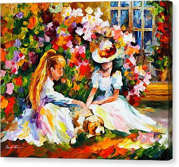 Friends With A Dog Canvas Print by Leonid Afremov