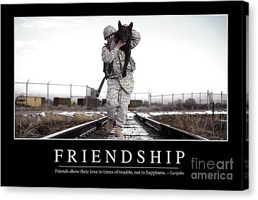 Working Dog Canvas Print - Friendship Inspirational Quote by Stocktrek Images